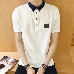 Bestrooy - Embroidered Contrast Collar Polo