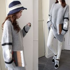 NIPONJJUYA - Contrast-Trim Wool Blend Long Sweater