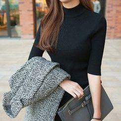 SOMMEY - Elbow-Sleeve Knit Pullover