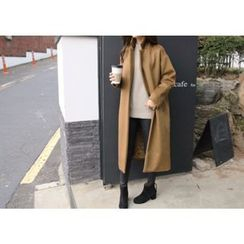 Hello sweety - One-Button Wool Blend Long Coat