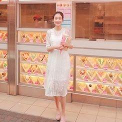 Cherryville - Set: Elbow-Sleeve Sheer Lace Dress + Slipdress