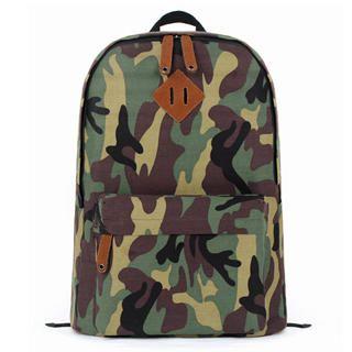 Mr.ace Homme - Camouflage Appliqué Canvas Backpack
