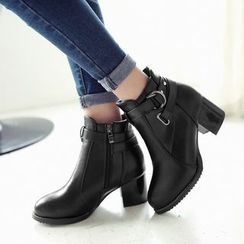 Pretty in Boots - Chunky Heel Buckled Ankle Boots