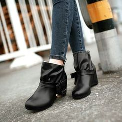 Pretty in Boots - Faux Leather Hidden Wedge Ankle Boots