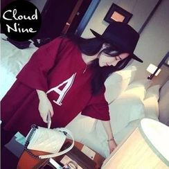 Cloud Nine - 'A' Print Elbow-Sleeve T-Shirt