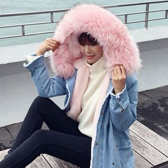 Seoul Fashion - Faux-Fur Denim Jacket