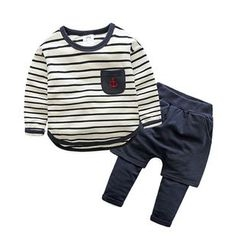Seashells Kids - Kids Set: Striped Long-Sleeve T-Shirt + Shorts Inset Leggings