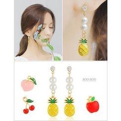 soo n soo - Faux-Pearl Fruit Drop Earrings