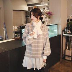 mimi&didi - Layered-Hem Checked Wool Blend Mini Pullover Dress