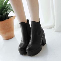 YOUIN - Chunky-Heel Platform Paneled Ankle Boots