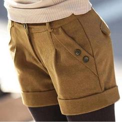 LITI - 卷边毛呢短裤