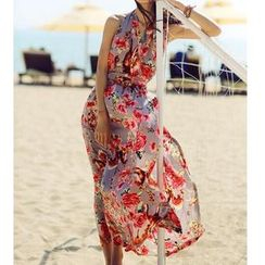 Isadora - Halter Open Back Floral Maxi Dress