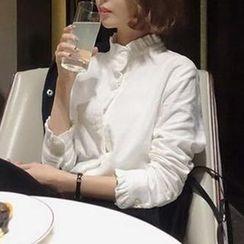 Arroba - 皺褶邊混麻襯衫
