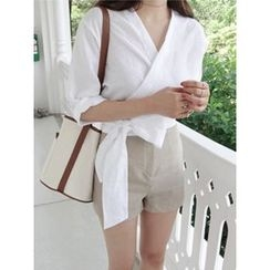 maybe-baby - Wrap-Front Tie-Waist Linen Top