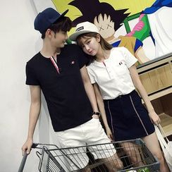 JORZ - Couple Matching Split-neck Short-Sleeve T-shirt