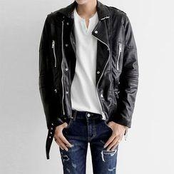 Seoul Homme - Faux-Leather Biker Jacket