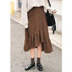 J-ANN - Ruffled Asymmetric-Hem Checked Skirt