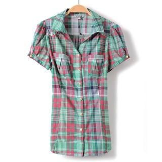 9mg - Short-Sleeve Tie-Waist Plaid Blouse