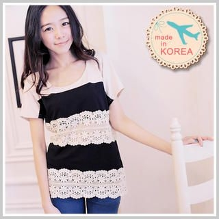 Clair Fashion - Tie-Back Crochet-Striped Top