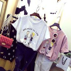 MATO - Couple Matching Printed Short-Sleeve T-shirt