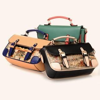 BeiBaoBao - Contrast-Trim Printed Buckled Satchel