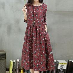 Fashion Street - Floral Print Long-Sleeve Midi Dress