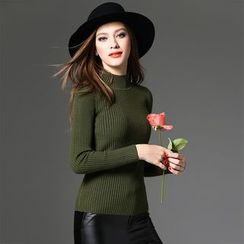 Y:Q - Mock Neck Long Sleeve Rib-Knit Top