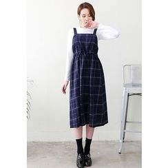 Dalkong - Drawstring A-Line Midi Pinafore Dress