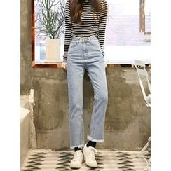 FROMBEGINNING - Fringed Straight-Cut Jeans