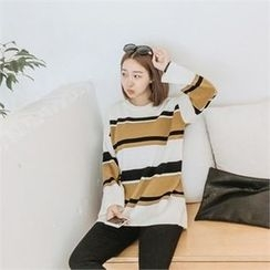 JOAMOM - Drop-Shoulder Striped Knit Top