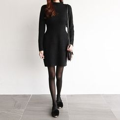 NIPONJJUYA - Mock-Neck Rib-Knit Mini Sheath Dress