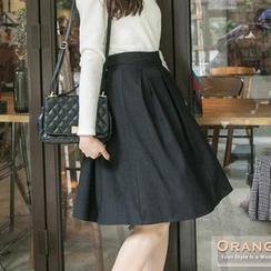 OrangeBear - Bow-Back Pleated Midi Skirt