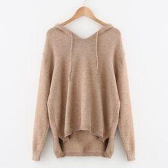 Meimei - Plain Hooded Knit Top