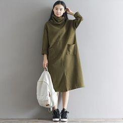 Cherry Dress - Slit Front Midi Dress with Neck Warmer
