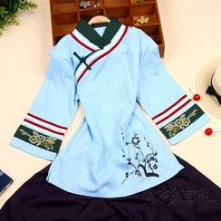Bluemill - Set: Floral Print 3/4 Sleeve Cheongsam Top + Plain Midi Skirt