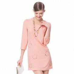O.SA - 3/4-Sleeve Perforated Dress