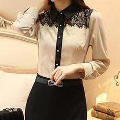Hanee - Lace-Panel Chiffon Shirt