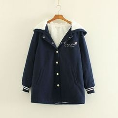 Mushi - Embroidered Fleece-lined Hooded Coat