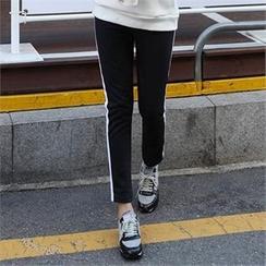 CHICFOX - Stripe-Side Fleece-Lined Sweatpants