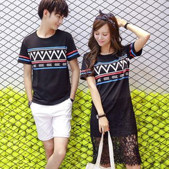Azure - Couple Matching Patterned T-Shirt / Lace Hem T-Shirt Dress