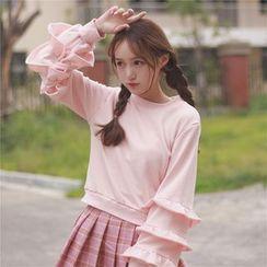 GOGO Girl - Frilled Lantern Sleeve Sweatshirt