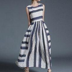 Isadora - Sleeveless Patterned Chiffon Maxi Dress