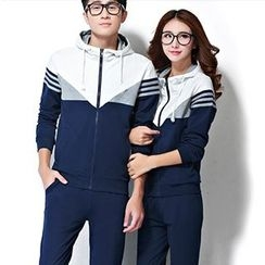 Lovebirds - Set: Couple Hooded Color-Block Jacket + Sweatpants
