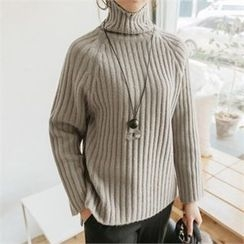 JOAMOM - Turtle-Neck Raglan-Sleeve Knit Top