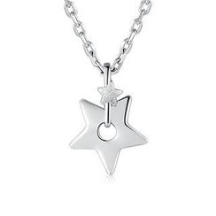 Bling Bling - Platinum Plated 925 Sterling Silver Trinkling Double Stars Necklace (16')