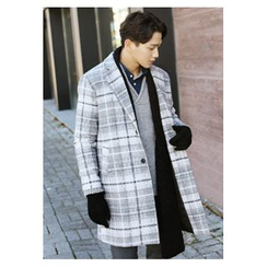 HOTBOOM - Notched-Lapel Plaid Wool Blend Coat