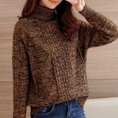 Ageha - Melange Turtleneck Thick Sweater