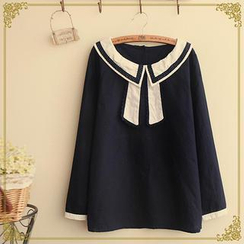 布衣天使 - 蕾絲邊水手領襯衫