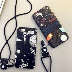 Cartoon Face - Printed Phone Case with Neck Strap - Apple iPhone 6 / 6 Plus / 7 / 7 Plus