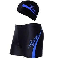 Charmaine - Set: Lettering Swim Shorts + Swim Hat